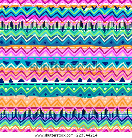 colorful abstract zigzag seamless background - stock vector