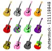 colorful acoustic guitars vector - stock vector