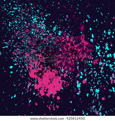 Colorful acrylic pink, blue light glitter paint splatter shiny, blob on blue dark background. Neon glowing spray stains placer abstract background, vector illustration. - stock vector
