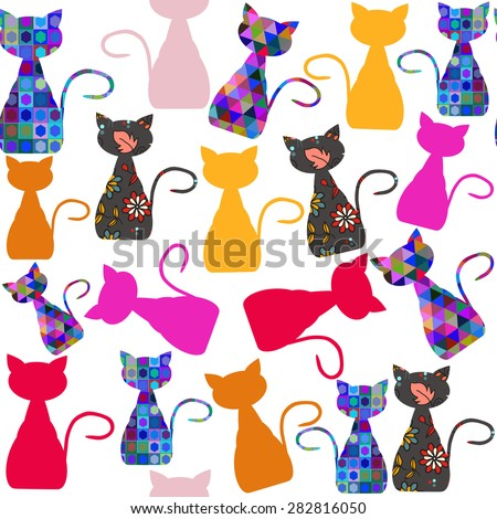 Colorful adorable modern cats seamless pattern and seamless pattern in swatch menu, vector illustration - stock vector