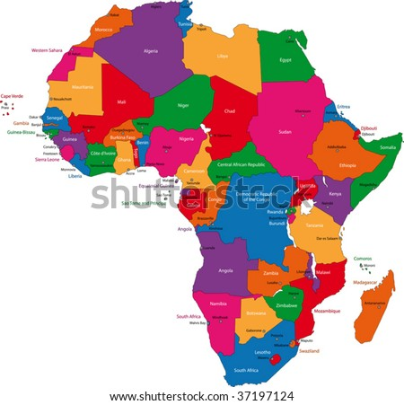 Colorful Africa map with countries and capital cities - stock vector