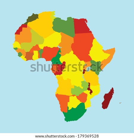 Colorful Africa vector map with separated countries isolated on vintage blue background.