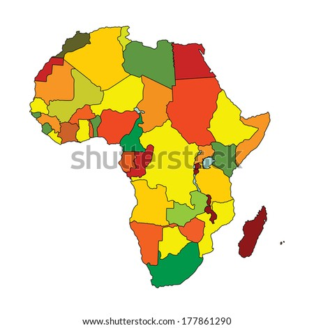 Colorful Africa vector map with separated countries isolated on white background.  - stock vector