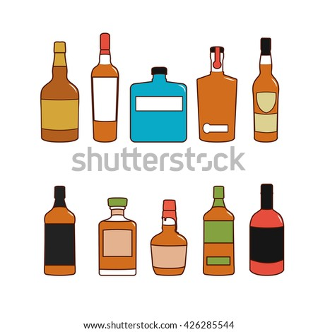 Colorful alcoholic drinks vector bottles set