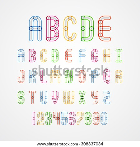 Colorful alphabet capital letters A,B,C,D,E,F,G,H,I,J,K,L,M,N,O,P,Q,R,S,T,U,V,W,X,Y,Z. and numbers.vector illustration - stock vector