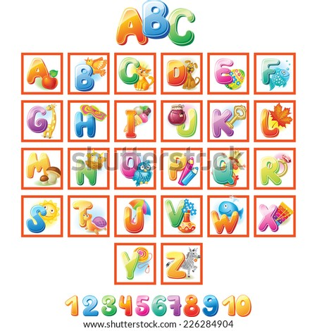 Colorful Alphabet for kids with pictures - stock vector