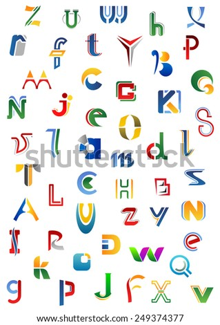 Colorful alphabet letters and fonts on a white background, for logo or emblem design