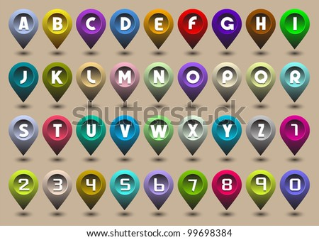 Colorful alphabet letters and numbers in the form of GPS icons - stock vector