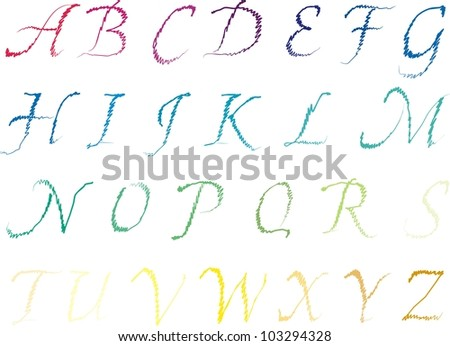 colorful alphabet letters are drawn by hand by a single line - stock vector