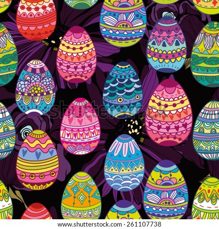 Colorful amazing pattern of ornamental eggs in bright colors. - stock vector