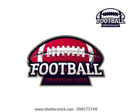 Colorful american football sport logo label with bonus one color performance on white background. Vector abstract illustration. - stock vector
