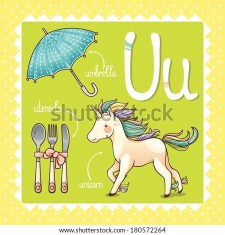 Colorful and cute kids alphabet: letter U - stock vector