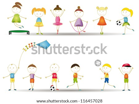 Colorful and cute kids playing in garden
