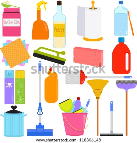 Colorful and Cute vector cartoon Icons collection, a set of Domestic housework Tools for Washing, Household Cleaning Equipments isolated on white, baking soda, vinegar, sponge, brush, chemical - stock vector