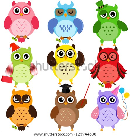 Colorful and Cute vector cartoon Icons collection, a set of Owls with different characters isolated on white background  - stock vector
