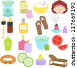 Colorful and Cute vector cartoon Icons collection as design elements, a set of Beauty tools, Relaxation in Pastel color isolated on white - oil burner, hot tea, aloe vera, cucumber, spa massage bed,  - stock vector
