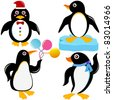 Colorful and Cute vector cartoon Icons collection as design elements, a set of Seabird - happy Penguin theme in different positions isolated on white - stock vector