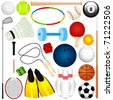Colorful and Cute vector Icons collection as design elements, a set of different kinds of Balls, exercise equipments isolated on white - golf ball, bowling, basketball, tennis, etc - stock photo