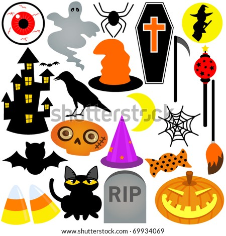 Colorful and Cute vector Icons collection as design elements, a set of Halloween Festival Theme with ghost, pumpkin, coffin, haunted house - stock vector
