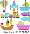 Colorful and Cute vector Transportation cartoon Icons collection as design elements a set of boat, balloon, submarine, pirate boat, ship, aircraft, train, airship vehicles isolated on white background - stock vector