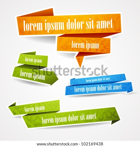Colorful and decorated paper banners for your text - stock vector