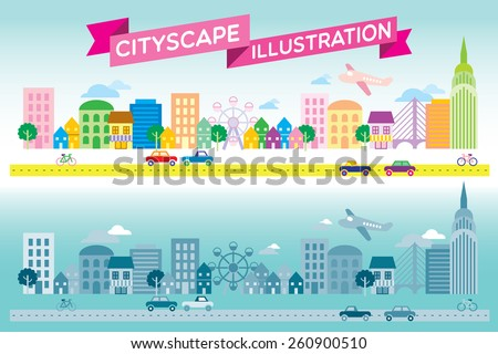 Colorful and monotone cityscape icon flat style vector - stock vector