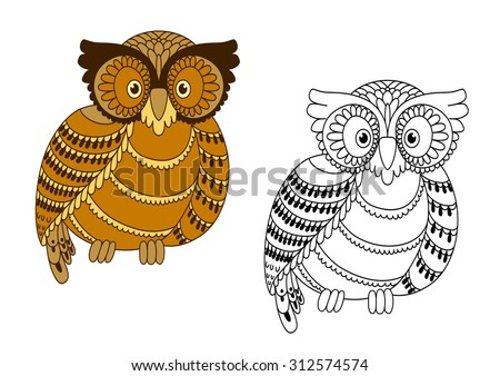 Colorful and outline doodle owl bird for mascot or handmade themes design - stock vector