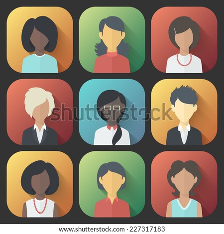 Colorful App Icons Set of Persons Female Different Nationality in Trendy Flat Style with Gradients and Long Shadows
