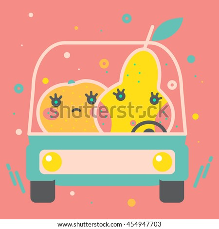 Colorful apple illustration, vector. Modern creative design. Bright decorative illustration. Stylish food and drink vector. Cute tasty orange, pear in a car. Healthy lifestyle, vegan, fruit diet.