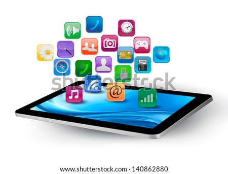 Colorful application icons in a tablet. Vector. - stock vector