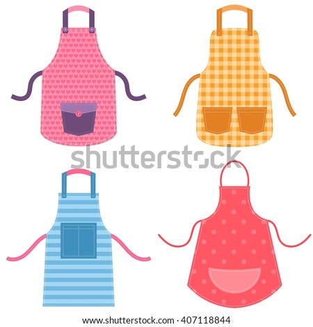 colorful apron set - stock vector
