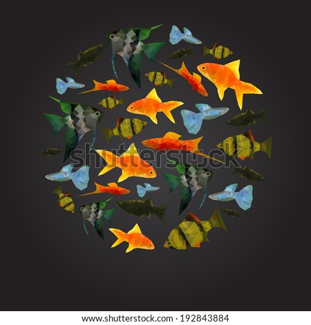 Colorful Aquarium Fishes isolated polygonal vector illustration - stock vector