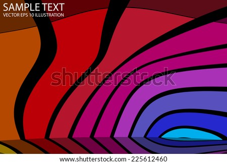 Colorful arcs background reflected vector illustration - Vector rainbow background template reflected - stock vector