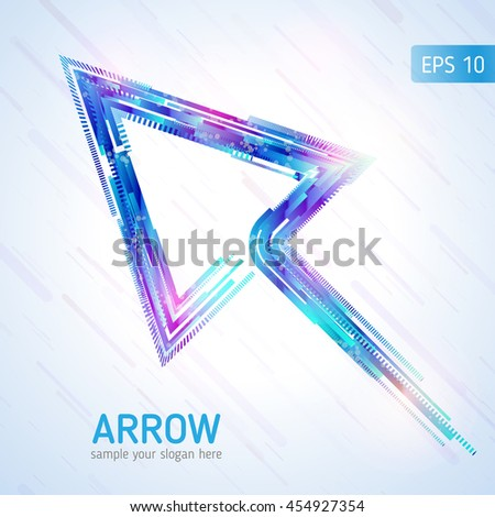 Colorful arrow. Abstract arrow. Vector background. Abstract technology lines