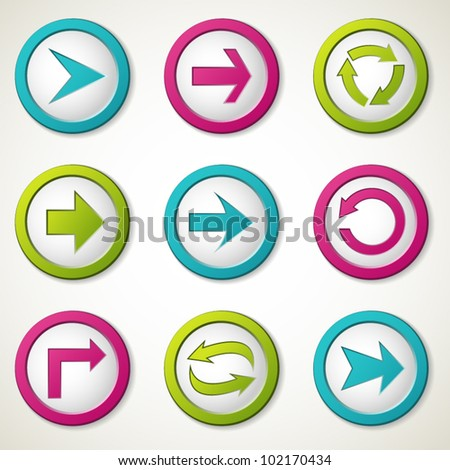 Colorful arrow buttons. Vector illustration. - stock vector