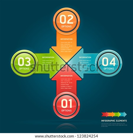Colorful arrow circle number options banner. Vector illustration. can be used for workflow layout, diagram, web design, infographics. - stock vector