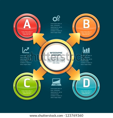 Colorful arrow circle options banner. Vector illustration. can be used for workflow layout, diagram, web design, infographics, number banner. - stock vector