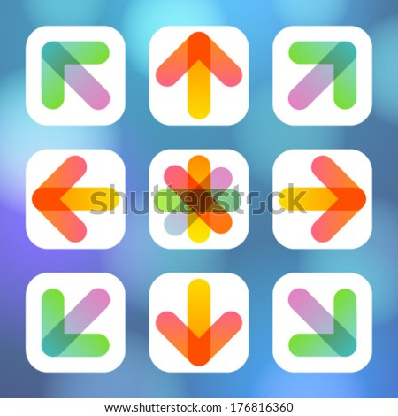 Colorful Arrow Icon Flat Menu. Vector illustration.