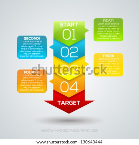 Colorful arrow layout with numbers for your presentation design. Vector illustration. - stock vector