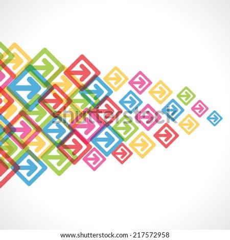 colorful arrow move or forward background vector - stock vector
