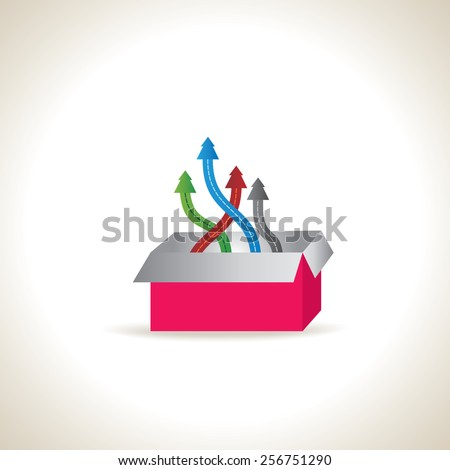 colorful- arrow out of box team work concept idea - stock vector