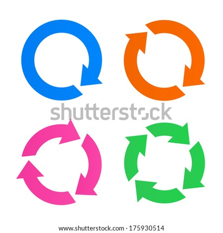 Colorful arrow reload icons - stock vector