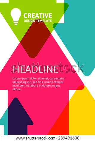 Colorful arrows background, template with place for text. Vector illustration. Concept for website, flyer, brochure, poster.