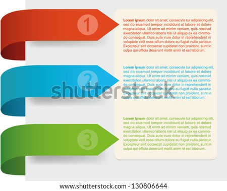 Colorful arrows-bookmarks, directing to the place for text. Editable shadows. Vector illustration. EPS 10 - stock vector