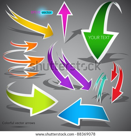 Colorful arrows on grey background. Vector illustration - stock vector
