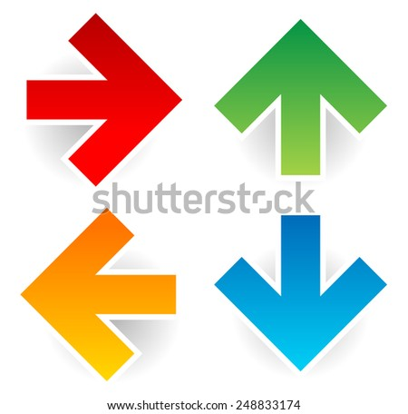 Colorful arrows on white - stock vector