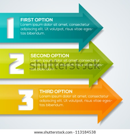 Colorful arrows progress banner template for your design.  Vector illustration. - stock vector