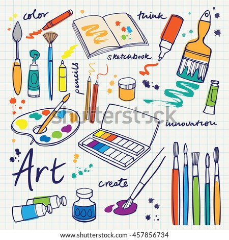 Colorful Art supplies icons