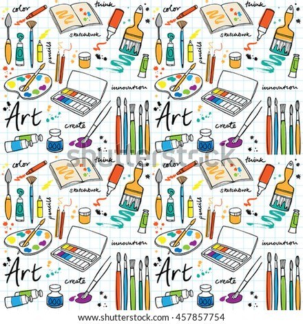Colorful Art supplies icons seamless pattern