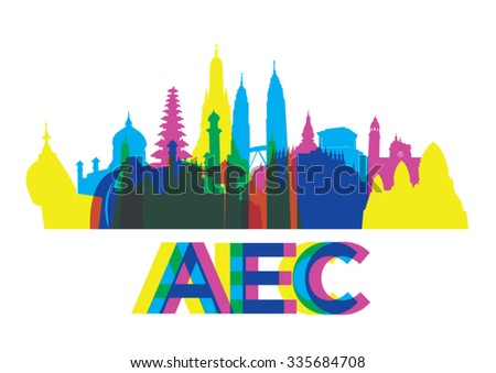 Colorful ASEAN landmark. vector - stock vector